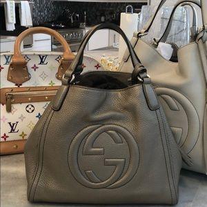 Gucci Medium SoHo Beige Metallic Leather Bag